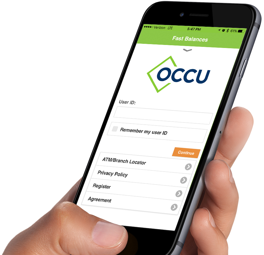 Close-up of hand holding iPhone with OCCU app
