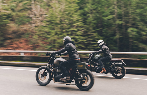 Motorcycle riders cruising the highway in Oregon