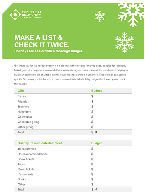 OCCU Holiday Budget Worksheet