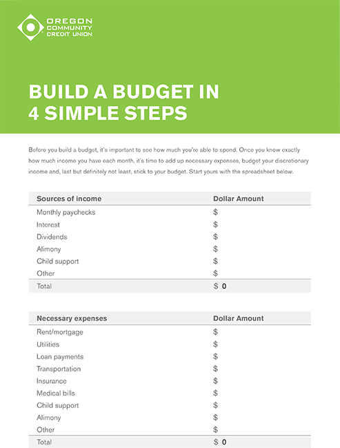 build a budget in 4 simple steps oregon community credit union