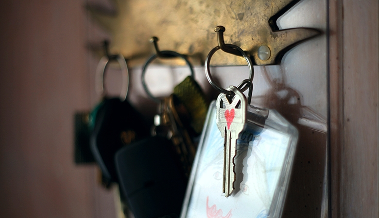 Sets of keys on a key rack