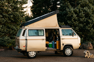 Open Vanagon with firewood