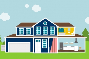 Blue house with open kitchen & bathroom illustration