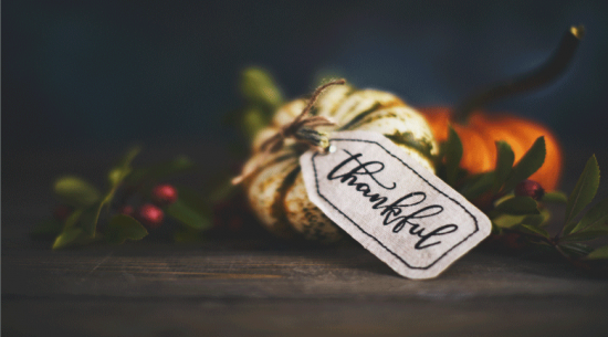 Pumpkin with thankful tag