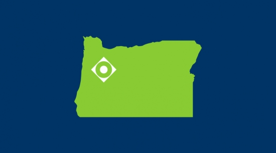 Icon of the state of Oregon with the OCCU logo mark