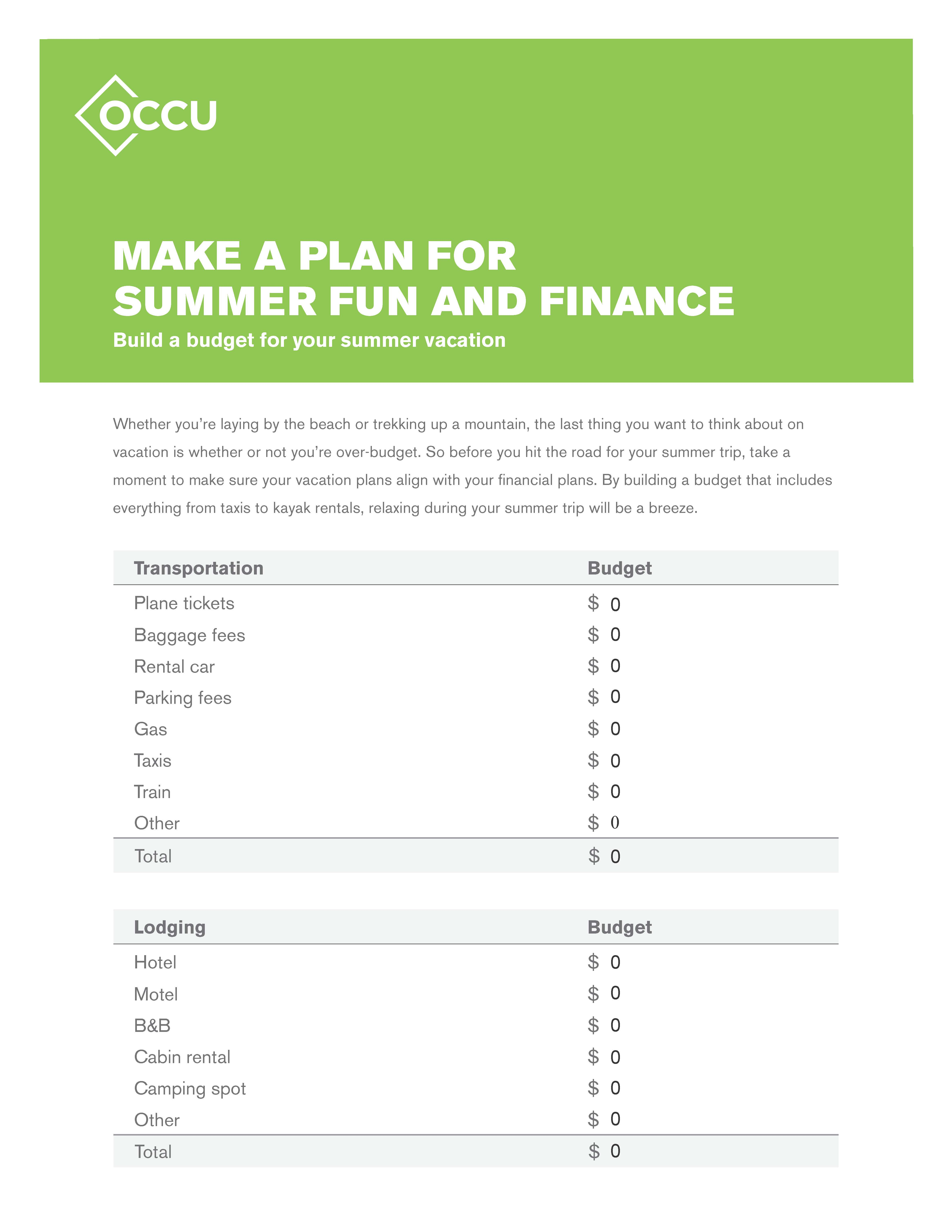 Summer Vacation Budget Worksheet
